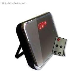 Réveil caméra espion miroir télécommandé