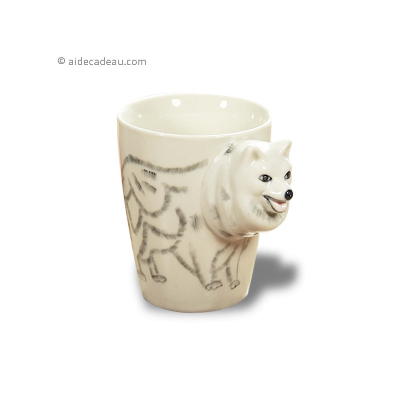 tasse 3d c ramique avec dessin chien loup. Black Bedroom Furniture Sets. Home Design Ideas