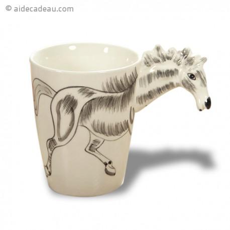 Tasse en céramique au décor cheval