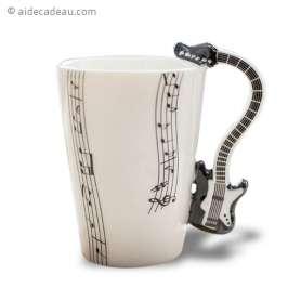 Mug musical en porcelaine avec anse guitare électrique