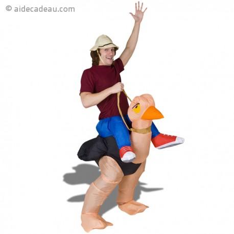 Costume gonflable explorateur sur dos autruche