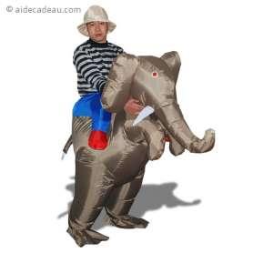 Déguisement gonflable aventurier à dos d'éléphant