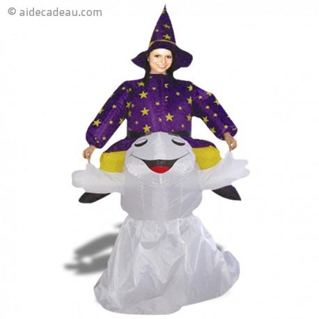 Costume gonflable sorcière à dos de fantôme
