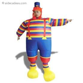 Déguisement gonflable de clown, aux vêtements et au chapeau colorés