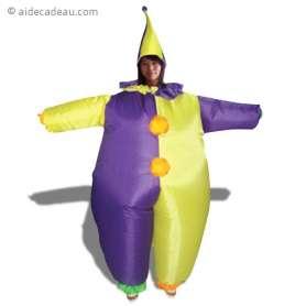 Déguisement gonflable de clown aux tenues violet et jaune