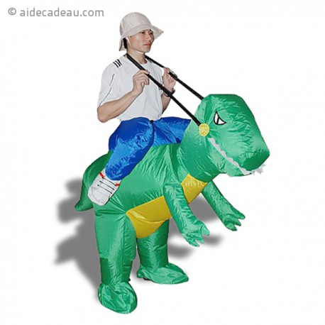 Costume gonflable explorateur sur dos de dinosaure