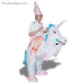 Costume gonflable magicien à dos de licorne