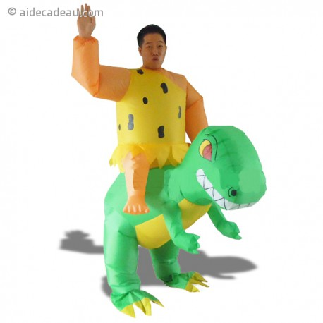 Costume gonflable homme des cavernes sur dos de dinosaure