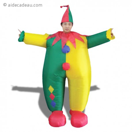 Déguisement de clown gonflable avec chapeau