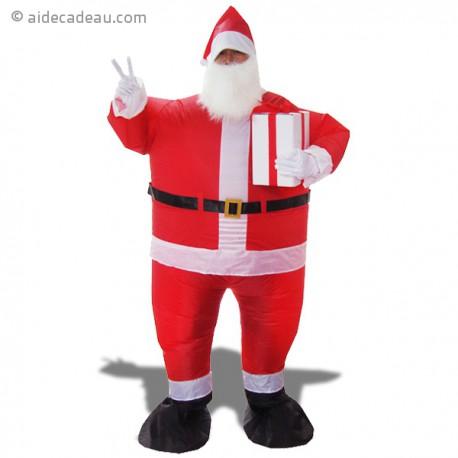 Déguisement de Père Noël gonflable, avec un cadeau dans la main
