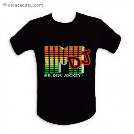 T-shirt equalizer noir mister DJ LED lumineux