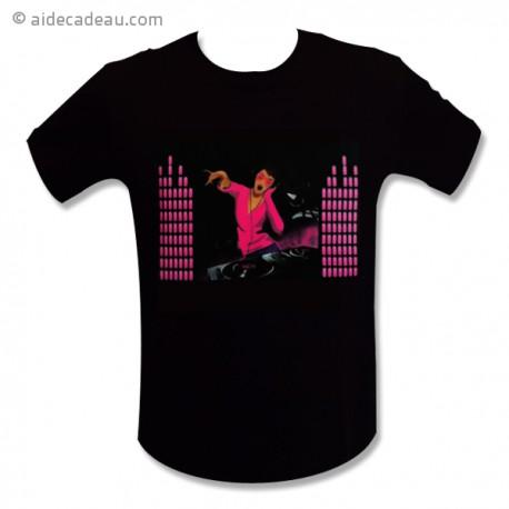 T-shirt equalizer Dj femme rose LED