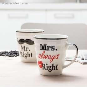 2 tasses mari et femme en céramique