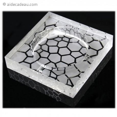 Cendrier en verre motif galets
