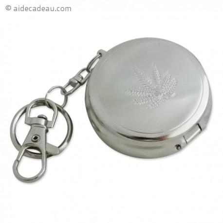 Cendrier de poche motif feuille de cannabis porte clef