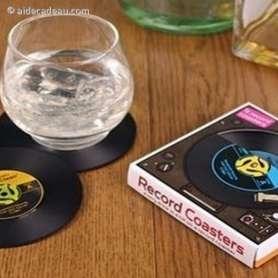 Lot de deux sous-verres en forme de vieux disque vinyle
