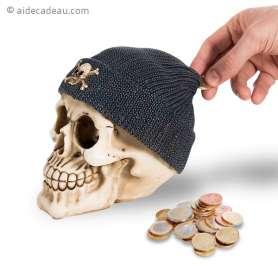 Tirelire tête de mort avec bonnet noir