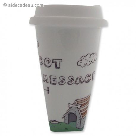 Tasse en céramique message avec couvercle
