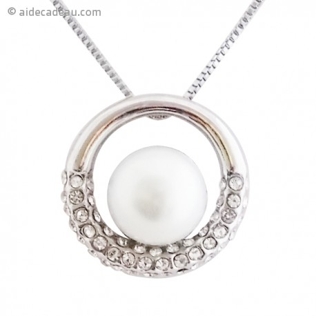 Collier pendentif perle et oeillet en strass