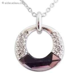 Collier avec anneau argenté strass et fausse pierre mauve