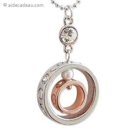 Collier pendentif à deux anneaux doré et argenté