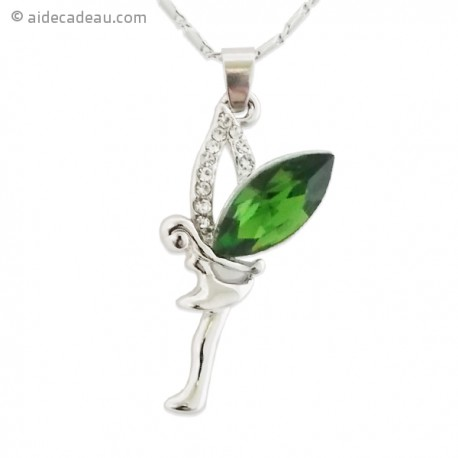 Le collier fée verte et strass