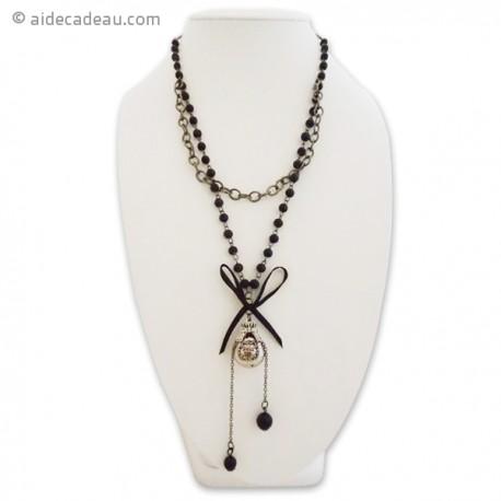 Sautoir à perles et noeud noir