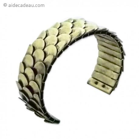 Bracelet rigide avec structure en écailles et de couleur dorée