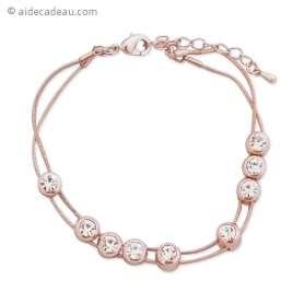 Bracelet couleur or serti de faux cristaux clairs