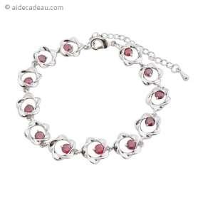 Bracelet argenté à maillons en fleurs orné de pierres