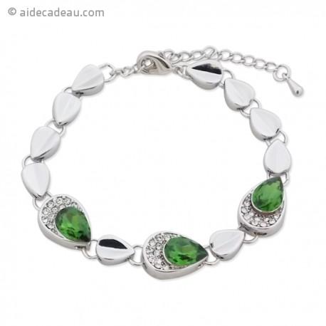 Bracelet design orné de cristal vert