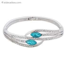 Bracelet argenté avec strass et pierres turquoise