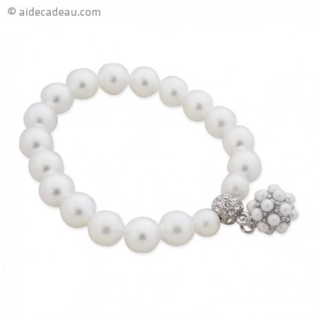 Joli bracelet en perles aux reflets blancs nacrés