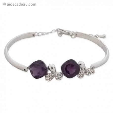 Bracelet à 2 arcs et 2 trèfles argentés ornés de 2 pierres violet