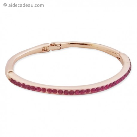 Bracelet fin rigide couleur doré et strass magenta