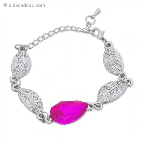 Bracelet ornés de feuilles argentées et faux cristal rose
