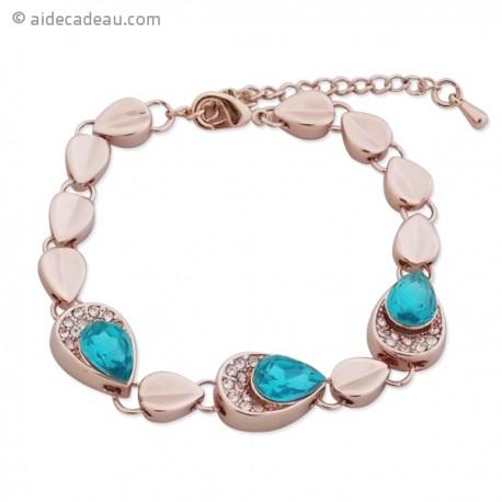 Magnifique bracelet doré, à maillons en goutte, serti de pierre bleu