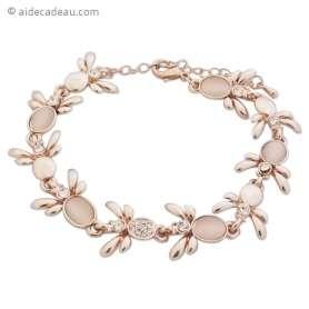 Bracelet abeilles dorées avec strass et fausses pierres beiges