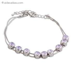 Bracelet Avec faux cristaux mauves