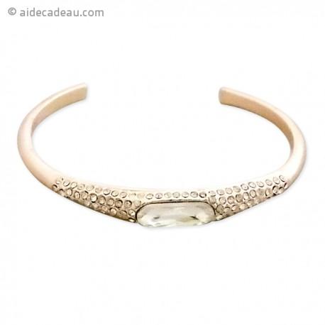 Bracelet rigide avec décor strass et faux cristal