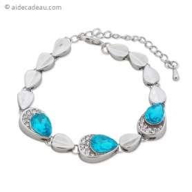 Sublime bracelet aux feuilles ou aux gouttes argentées