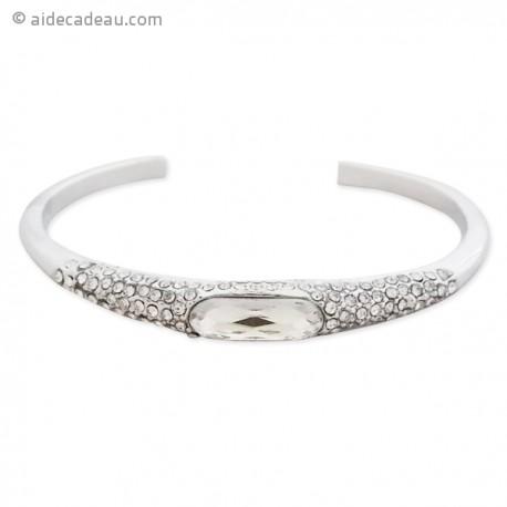 Le bracelet rigide argenté, strass et faux cristal blanc