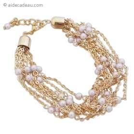 Splendide bracelet doré formé par des chaînes