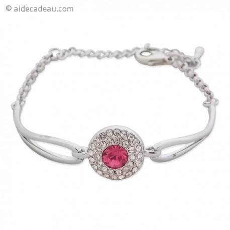 Bracelet de couleur argentée avec décor strass et pierre rouge