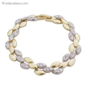 Beau bracelet d'ovales argentés et dorés tissés en torsade