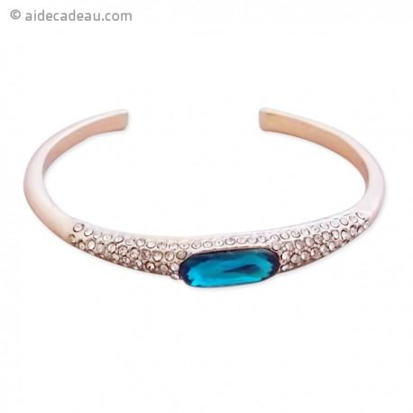 Bracelet à strass et pierre bleue