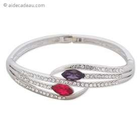 Bracelet argenté avec six branches et deux pierres