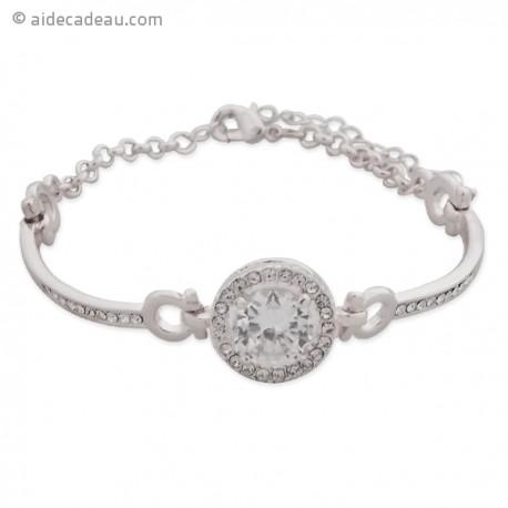 Bracelet argenté avec gros faux cristal blanc