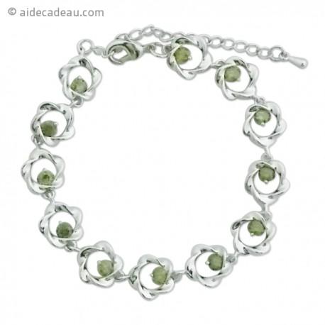 Bracelet fantaisie argenté avec motif fleur