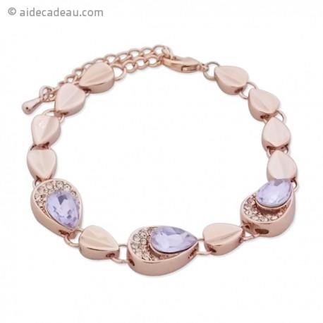 Bracelet avec gouttes dorés et faux cristal mauve